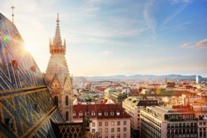 Vienna, St. Stephen's Cathedral, view from north tower, Österreich, Wien
